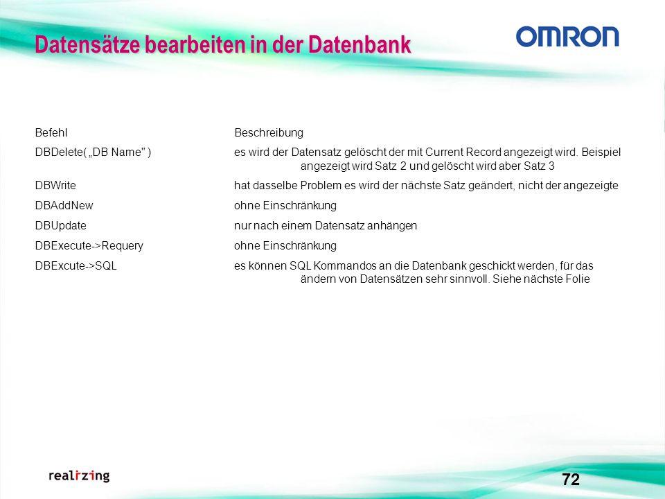 72 BefehlBeschreibung DBDelete( DB Name