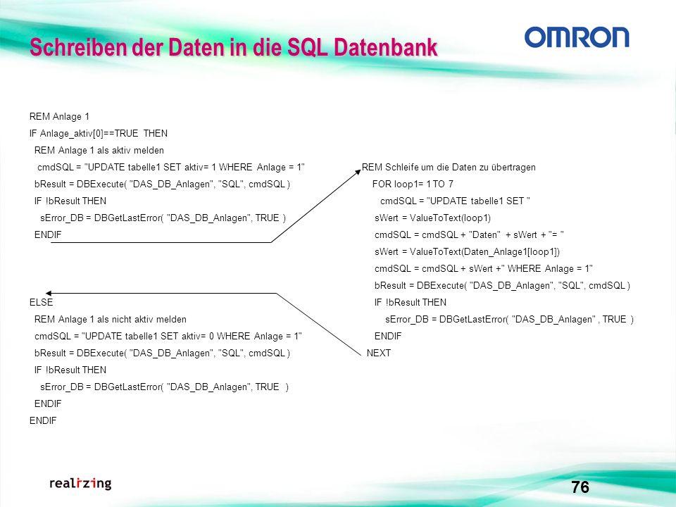 76 Schreiben der Daten in die SQL Datenbank ELSE REM Anlage 1 als nicht aktiv melden cmdSQL =