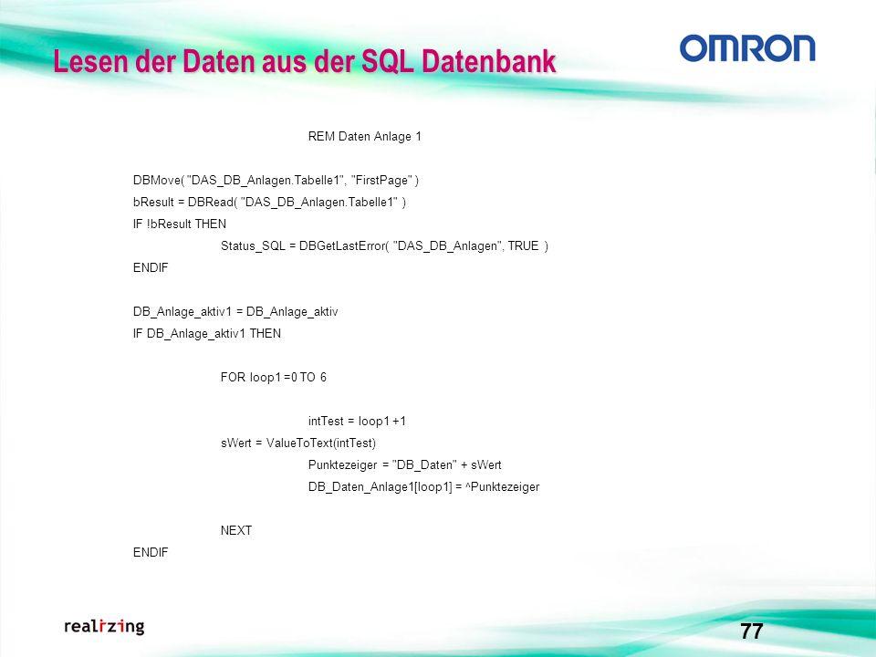 77 Lesen der Daten aus der SQL Datenbank REM Daten Anlage 1 DBMove(