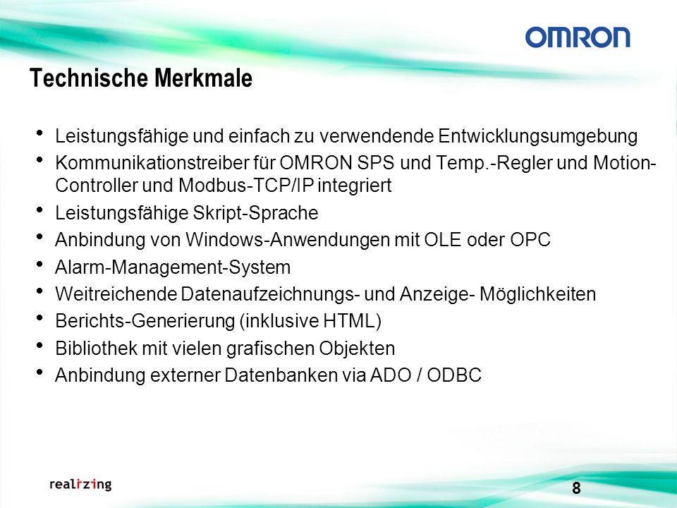 8 Technische Merkmale Leistungsfähige und einfach zu verwendende Entwicklungsumgebung Kommunikationstreiber für OMRON SPS und Temp.-Regler und Motion-