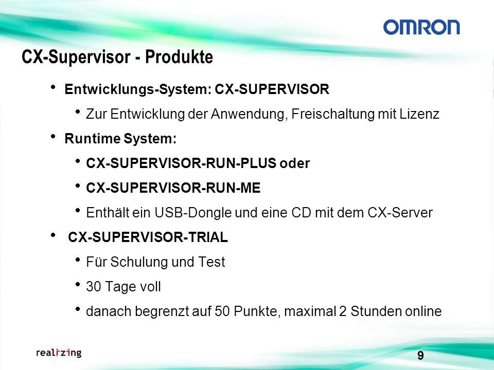 9 CX-Supervisor - Produkte Entwicklungs-System: CX-SUPERVISOR Zur Entwicklung der Anwendung, Freischaltung mit Lizenz Runtime System: CX-SUPERVISOR-RU