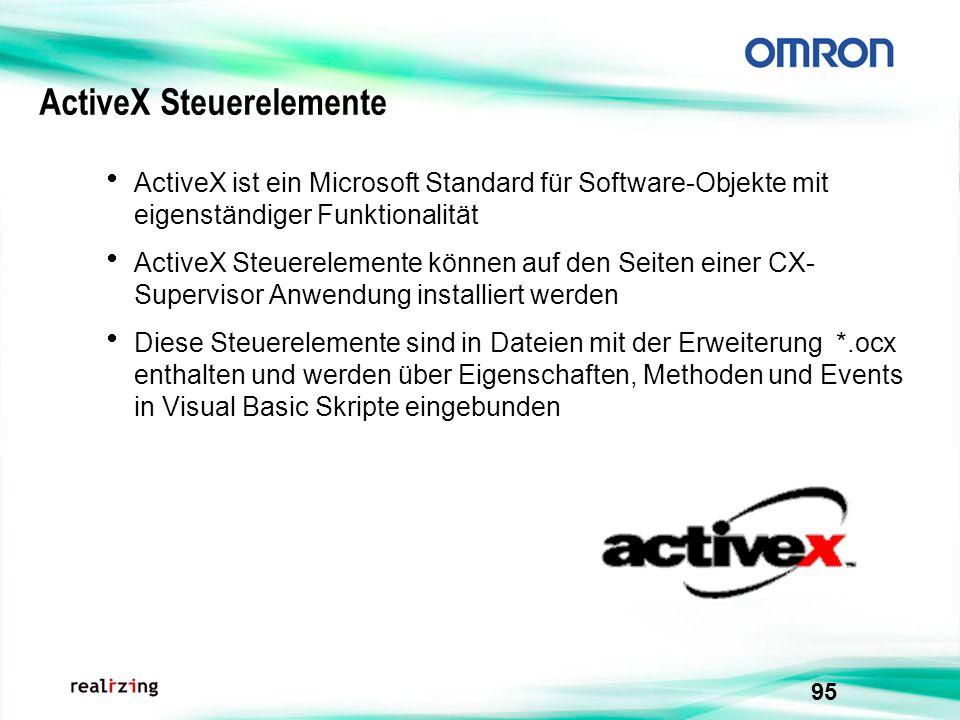 95 ActiveX Steuerelemente ActiveX ist ein Microsoft Standard für Software-Objekte mit eigenständiger Funktionalität ActiveX Steuerelemente können auf