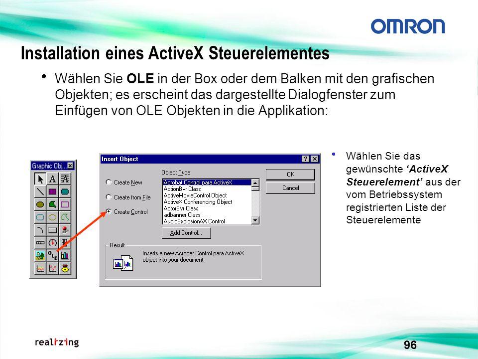 96 Wählen Sie OLE in der Box oder dem Balken mit den grafischen Objekten; es erscheint das dargestellte Dialogfenster zum Einfügen von OLE Objekten in
