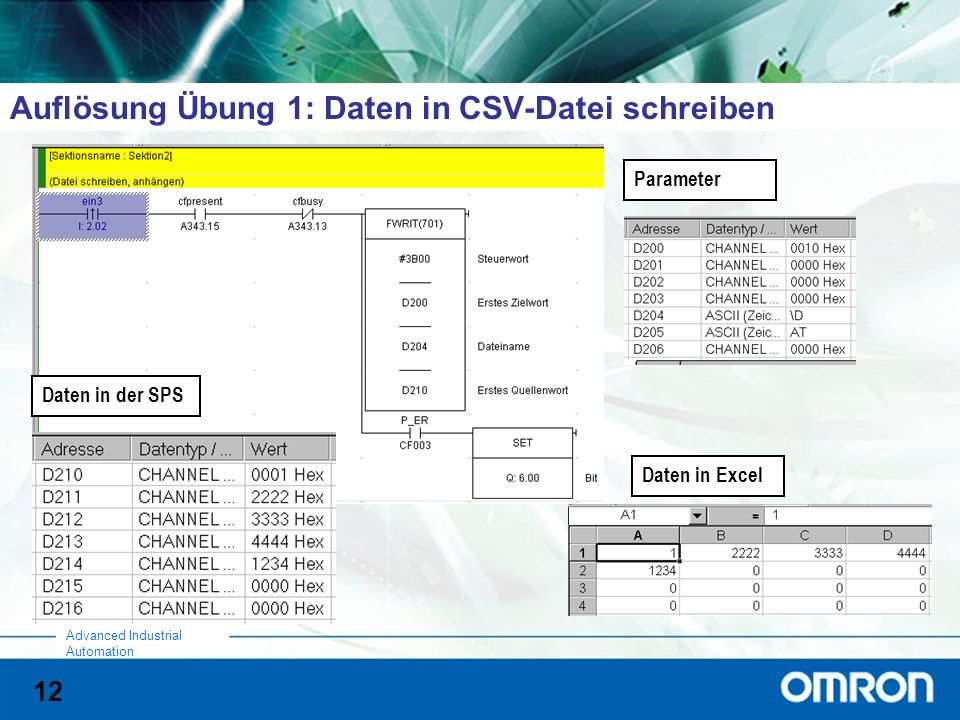 12 Advanced Industrial Automation Auflösung Übung 1: Daten in CSV-Datei schreiben Daten in Excel Parameter Daten in der SPS
