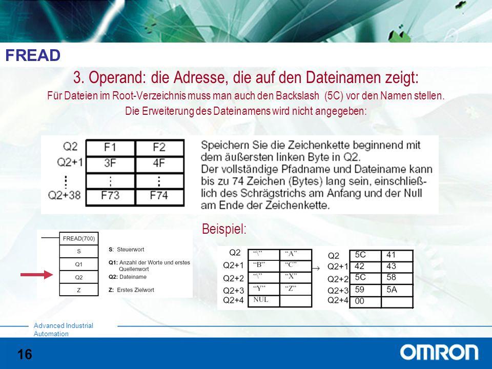 16 Advanced Industrial Automation FREAD 3. Operand: die Adresse, die auf den Dateinamen zeigt: Für Dateien im Root-Verzeichnis muss man auch den Backs