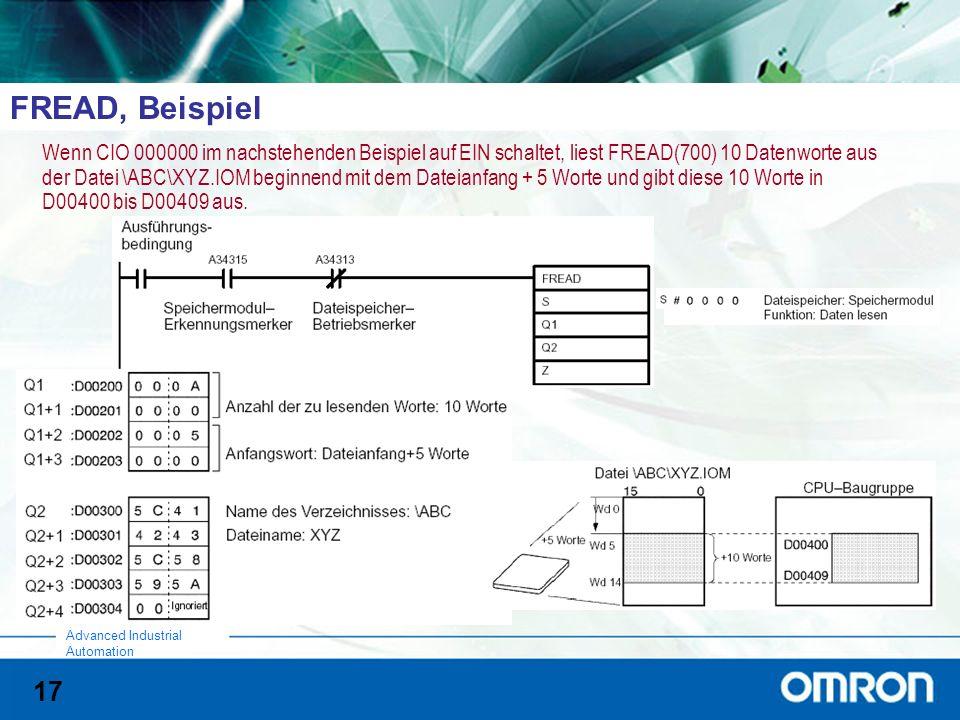 17 Advanced Industrial Automation FREAD, Beispiel Wenn CIO 000000 im nachstehenden Beispiel auf EIN schaltet, liest FREAD(700) 10 Datenworte aus der D