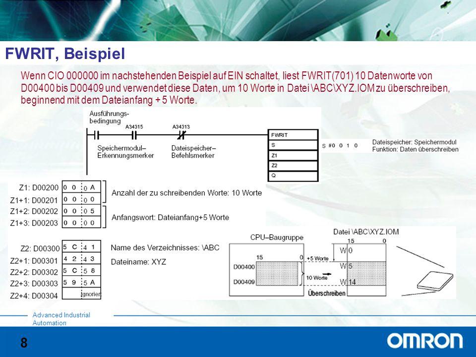 8 Advanced Industrial Automation FWRIT, Beispiel Wenn CIO 000000 im nachstehenden Beispiel auf EIN schaltet, liest FWRIT(701) 10 Datenworte von D00400