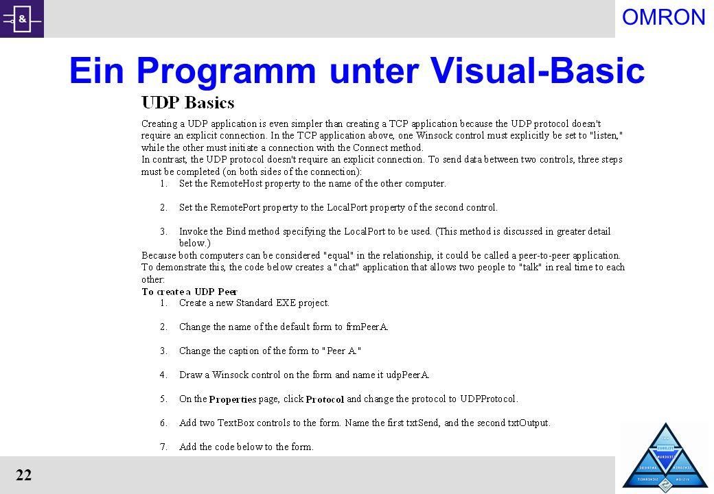 OMRON 22 Ein Programm unter Visual-Basic