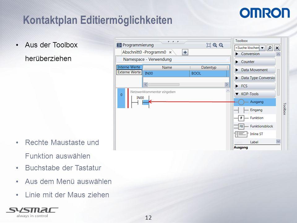 12 Kontaktplan Editiermöglichkeiten Aus der Toolbox herüberziehen Rechte Maustaste und Funktion auswählen Buchstabe der Tastatur Aus dem Menü auswähle