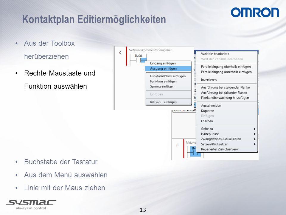 13 Kontaktplan Editiermöglichkeiten Aus der Toolbox herüberziehen Rechte Maustaste und Funktion auswählen Buchstabe der Tastatur Aus dem Menü auswähle