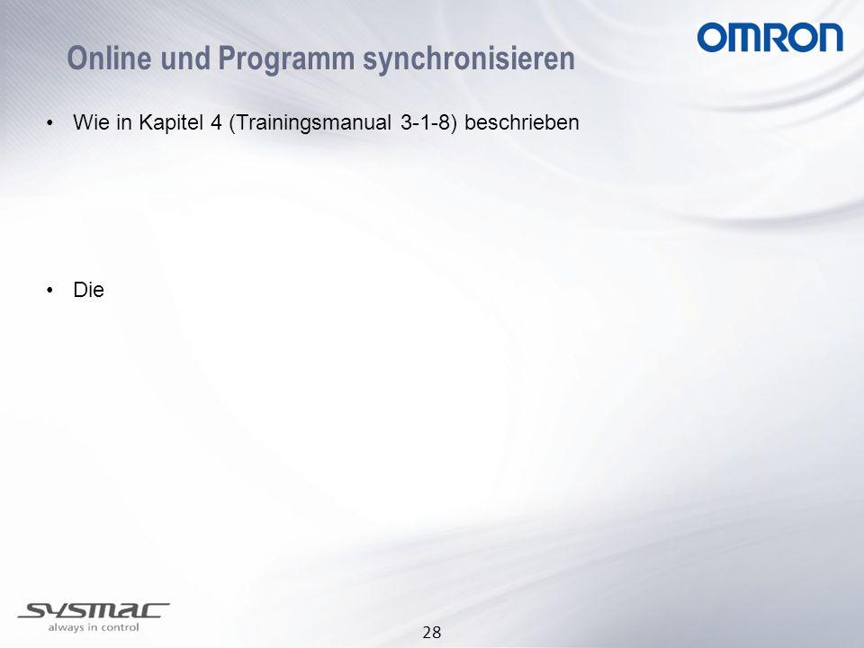 28 Online und Programm synchronisieren Wie in Kapitel 4 (Trainingsmanual 3-1-8) beschrieben Die