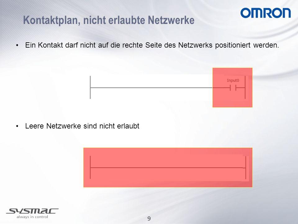 9 Kontaktplan, nicht erlaubte Netzwerke Ein Kontakt darf nicht auf die rechte Seite des Netzwerks positioniert werden. Leere Netzwerke sind nicht erla