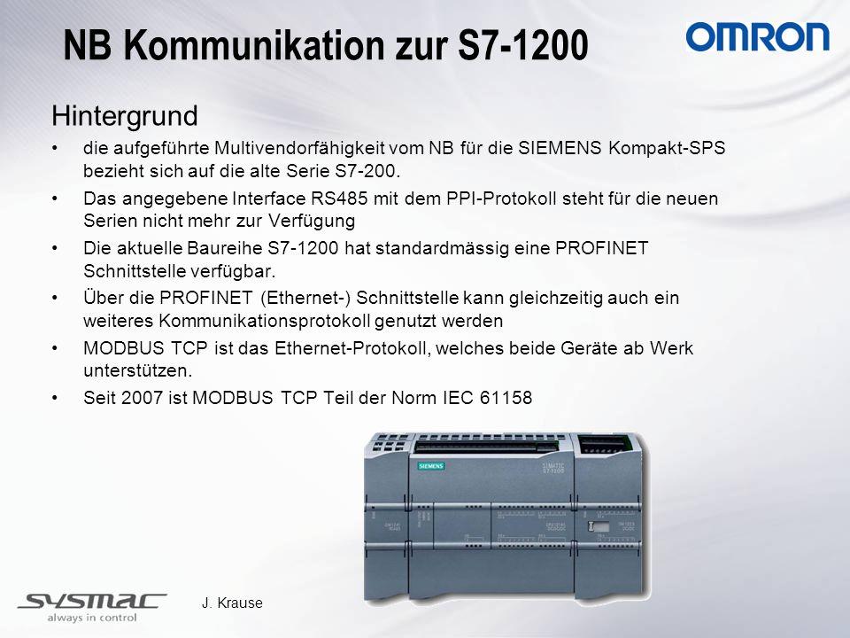 J. Krause NB Kommunikation zur S7-1200 Hintergrund die aufgeführte Multivendorfähigkeit vom NB für die SIEMENS Kompakt-SPS bezieht sich auf die alte S