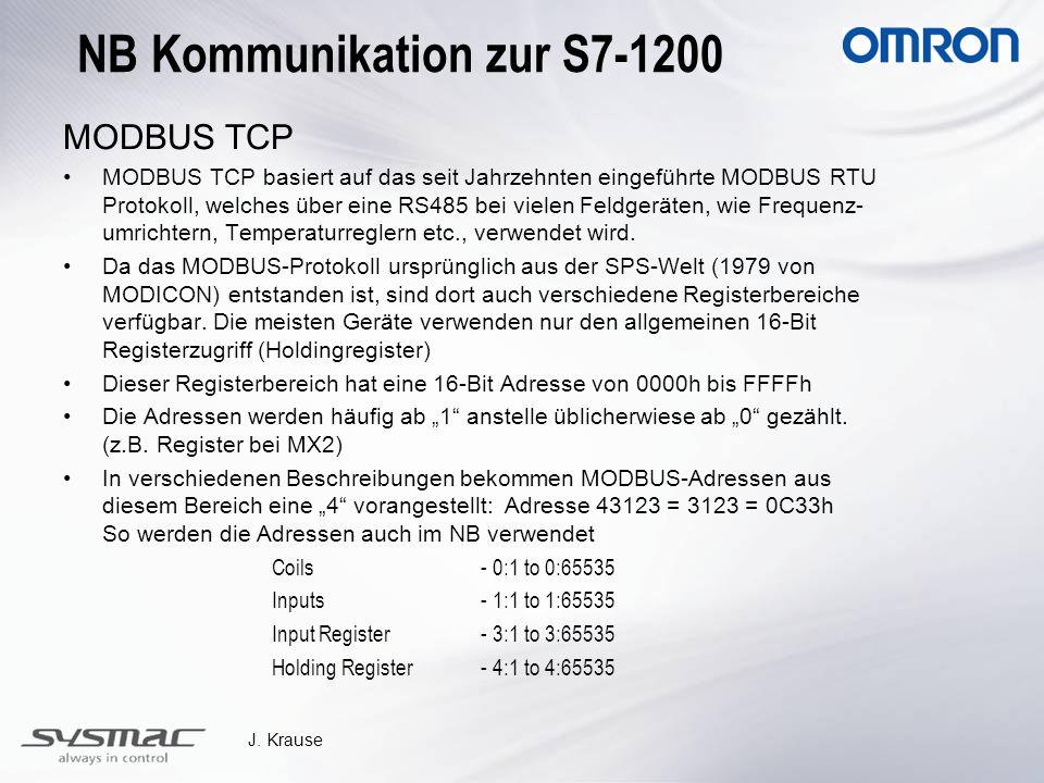 J. Krause NB Kommunikation zur S7-1200 MODBUS TCP MODBUS TCP basiert auf das seit Jahrzehnten eingeführte MODBUS RTU Protokoll, welches über eine RS48
