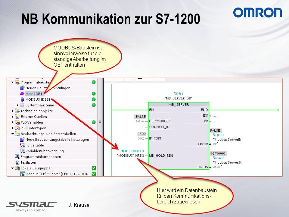 J. Krause MODBUS-Baustein ist sinnvollerweise für die ständige Abarbeitung im OB1 enthalten Hier wird ein Datenbaustein für den Kommunikations- bereic