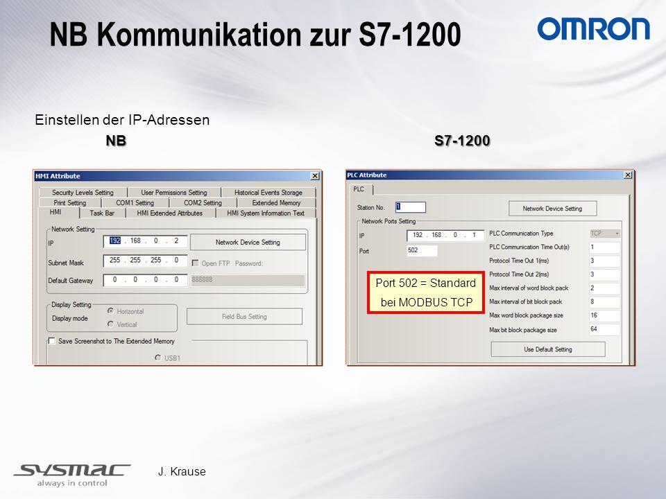 J. Krause Einstellen der IP-Adressen NBS7-1200 NBS7-1200 Port 502 = Standard bei MODBUS TCP NB Kommunikation zur S7-1200