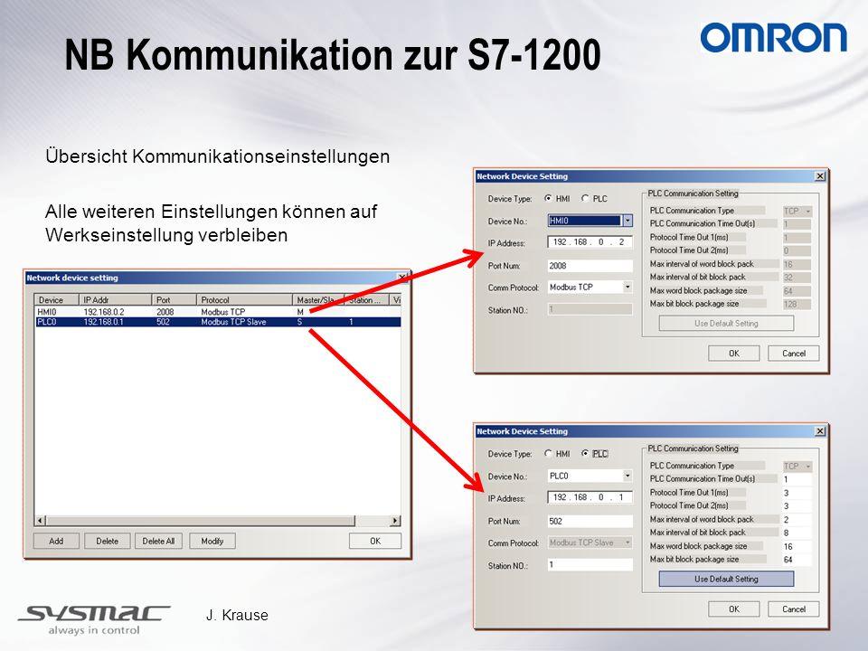 J. Krause Übersicht Kommunikationseinstellungen Alle weiteren Einstellungen können auf Werkseinstellung verbleiben NB Kommunikation zur S7-1200