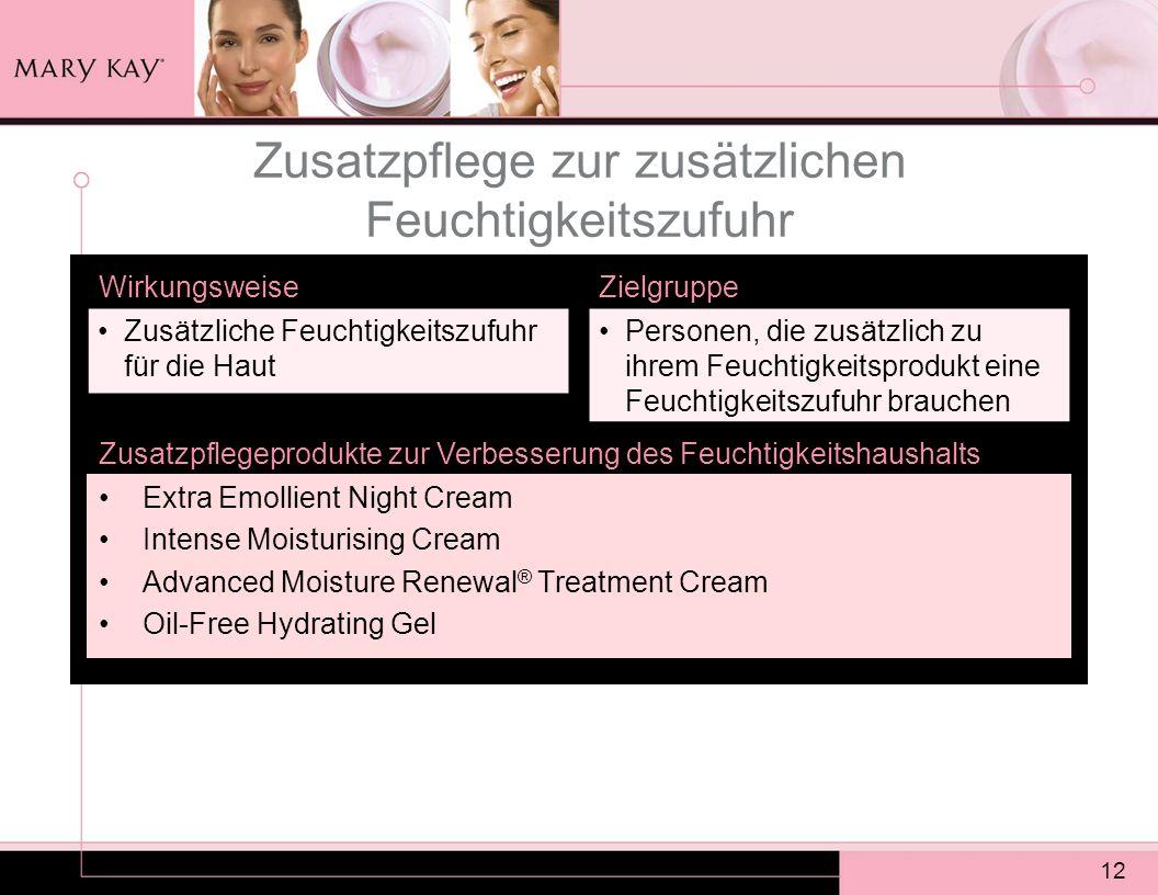 12 Zusatzpflege zur zusätzlichen Feuchtigkeitszufuhr Extra Emollient Night Cream Intense Moisturising Cream Advanced Moisture Renewal ® Treatment Crea