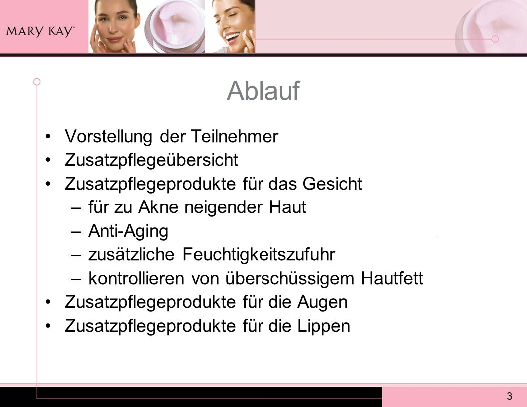 3 Ablauf Vorstellung der Teilnehmer Zusatzpflegeübersicht Zusatzpflegeprodukte für das Gesicht –für zu Akne neigender Haut –Anti-Aging –zusätzliche Fe