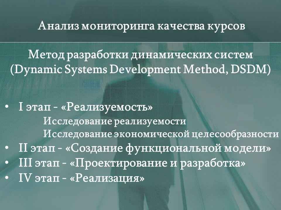 Анализ мониторинга качества курсов I этап - «Реализуемость» Исследование реализуемости Исследование экономической целесообразности II этап - «Создание функциональной модели» III этап - «Проектирование и разработка» IV этап - «Реализация» Метод разработки динамических систем (Dynamic Systems Development Method, DSDM)