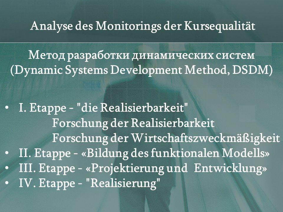 Analyse des Monitorings der Kursequalität I.