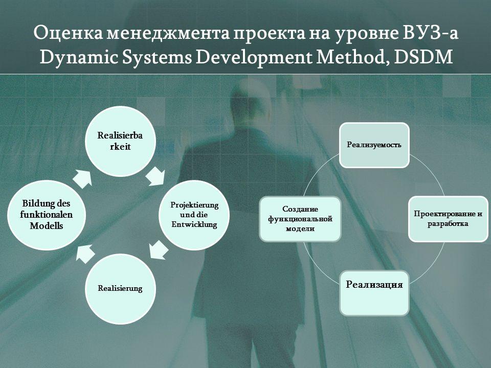Оценка менеджмента проекта на уровне ВУЗ-а Dynamic Systems Development Method, DSDM Realisierba rkeit Projektierung und die Entwicklung Realisierung Bildung des funktionalen Modells Реализуемость Проектирование и разработка Реализация Создание функциональной модели