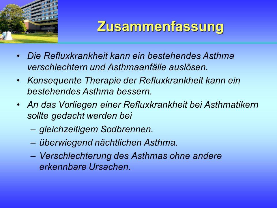 Zusammenfassung Die Refluxkrankheit kann ein bestehendes Asthma verschlechtern und Asthmaanfälle auslösen. Konsequente Therapie der Refluxkrankheit ka