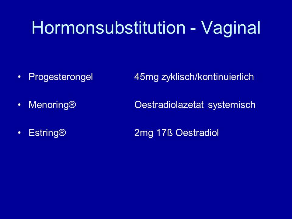Hormonsubstitution - Vaginal Progesterongel45mg zyklisch/kontinuierlich Menoring®Oestradiolazetat systemisch Estring®2mg 17ß Oestradiol