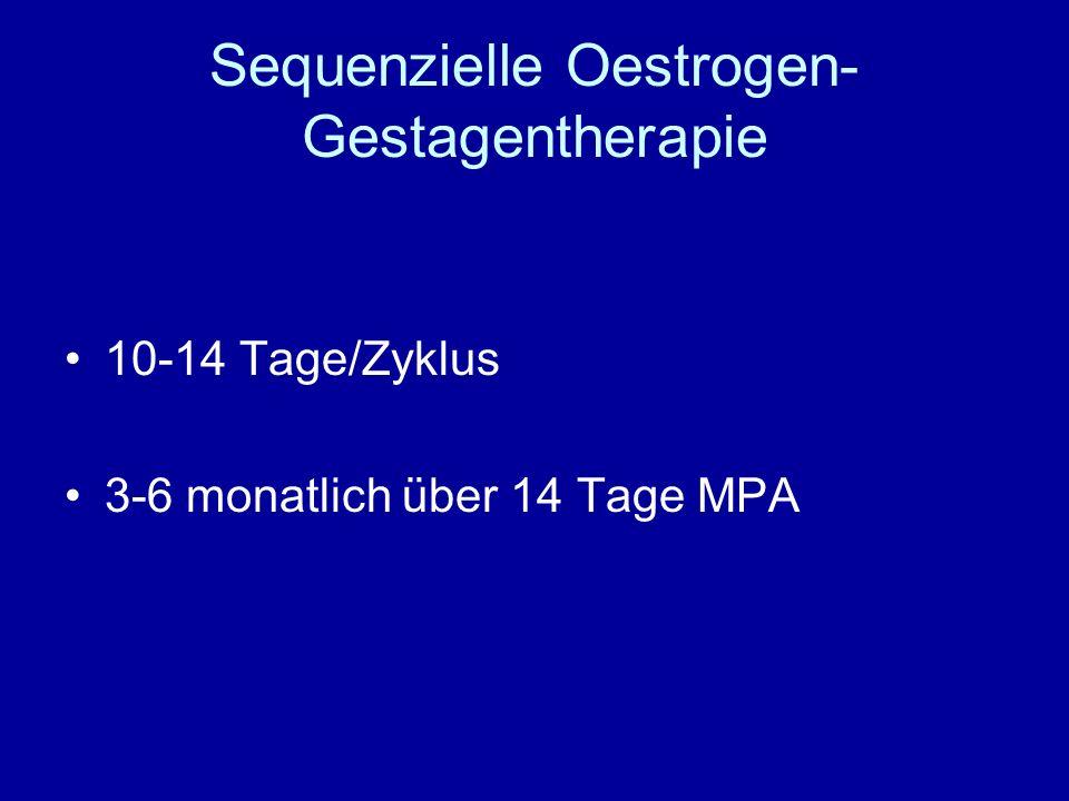 Sequenzielle Oestrogen- Gestagentherapie 10-14 Tage/Zyklus 3-6 monatlich über 14 Tage MPA