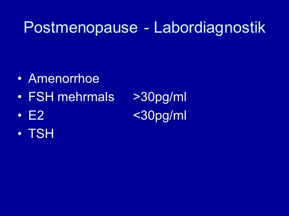 Postmenopause - Labordiagnostik Amenorrhoe FSH mehrmals >30pg/ml E2<30pg/ml TSH