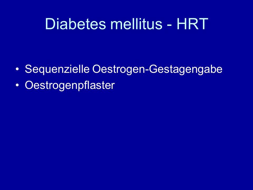 Diabetes mellitus - HRT Sequenzielle Oestrogen-Gestagengabe Oestrogenpflaster