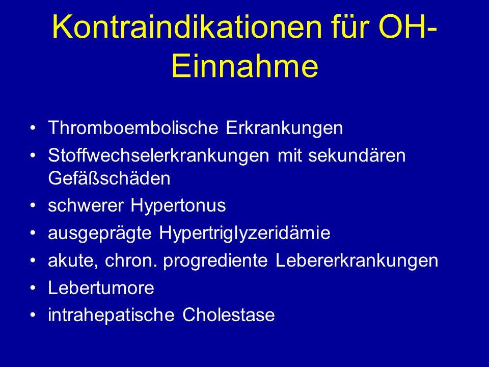 Kontraindikationen für OH- Einnahme Thromboembolische Erkrankungen Stoffwechselerkrankungen mit sekundären Gefäßschäden schwerer Hypertonus ausgeprägte Hypertriglyzeridämie akute, chron.