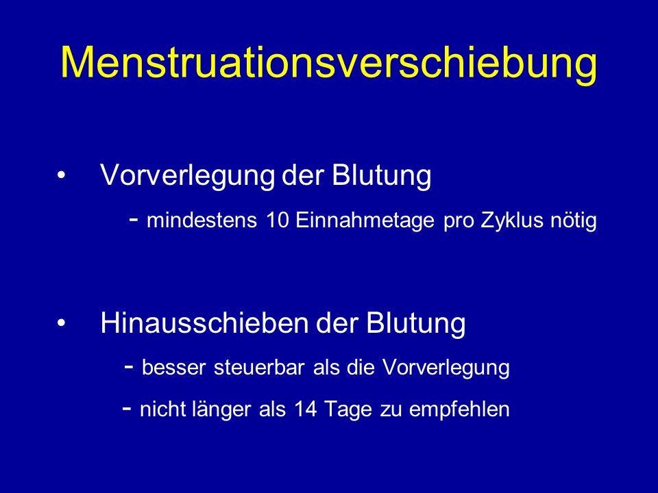 Menstruationsverschiebung Vorverlegung der Blutung - mindestens 10 Einnahmetage pro Zyklus nötig Hinausschieben der Blutung - besser steuerbar als die Vorverlegung - nicht länger als 14 Tage zu empfehlen