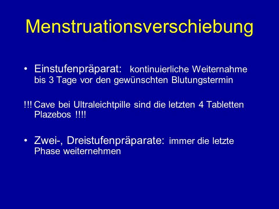 Menstruationsverschiebung Einstufenpräparat: kontinuierliche Weiternahme bis 3 Tage vor den gewünschten Blutungstermin !!.
