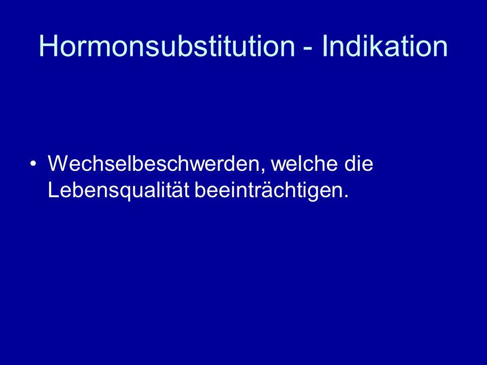 HRT - Kontraindikationen Ungeklärte vaginale Blutungen Mammakarzinom Endometriumkarzinom Thrombembolie Schwangerschaft