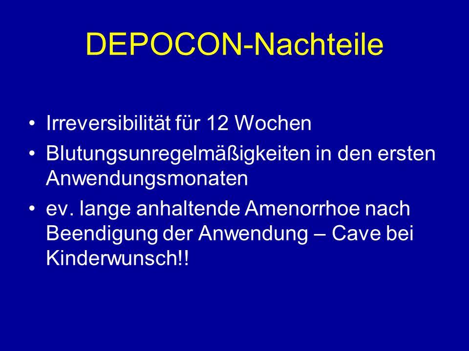 DEPOCON-Nachteile Irreversibilität für 12 Wochen Blutungsunregelmäßigkeiten in den ersten Anwendungsmonaten ev.