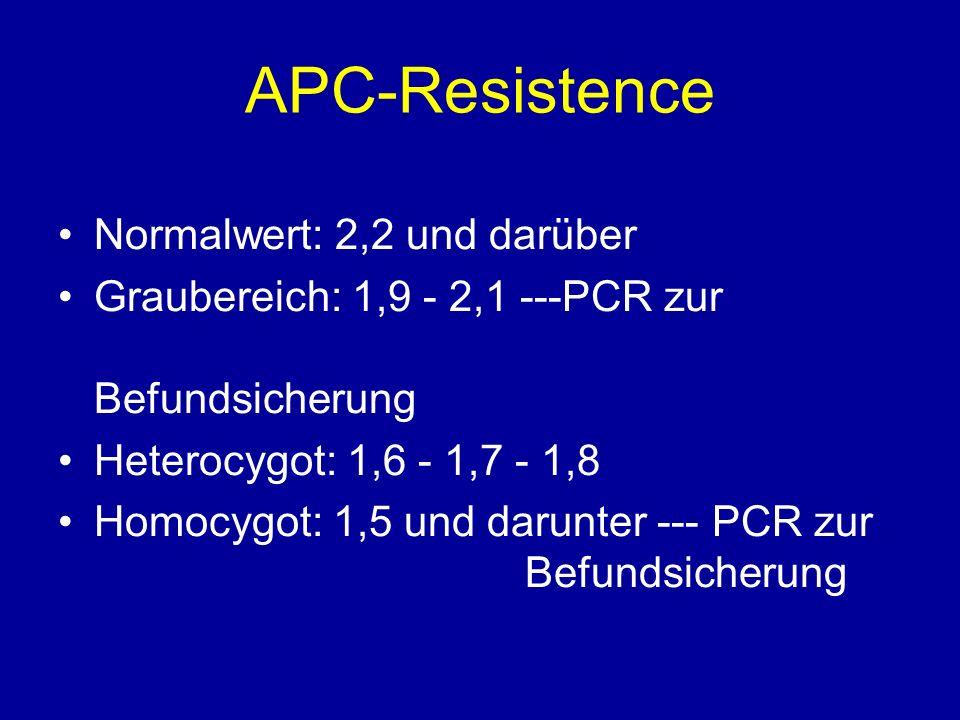 APC-Resistence Normalwert: 2,2 und darüber Graubereich: 1,9 - 2,1 ---PCR zur Befundsicherung Heterocygot: 1,6 - 1,7 - 1,8 Homocygot: 1,5 und darunter --- PCR zur Befundsicherung