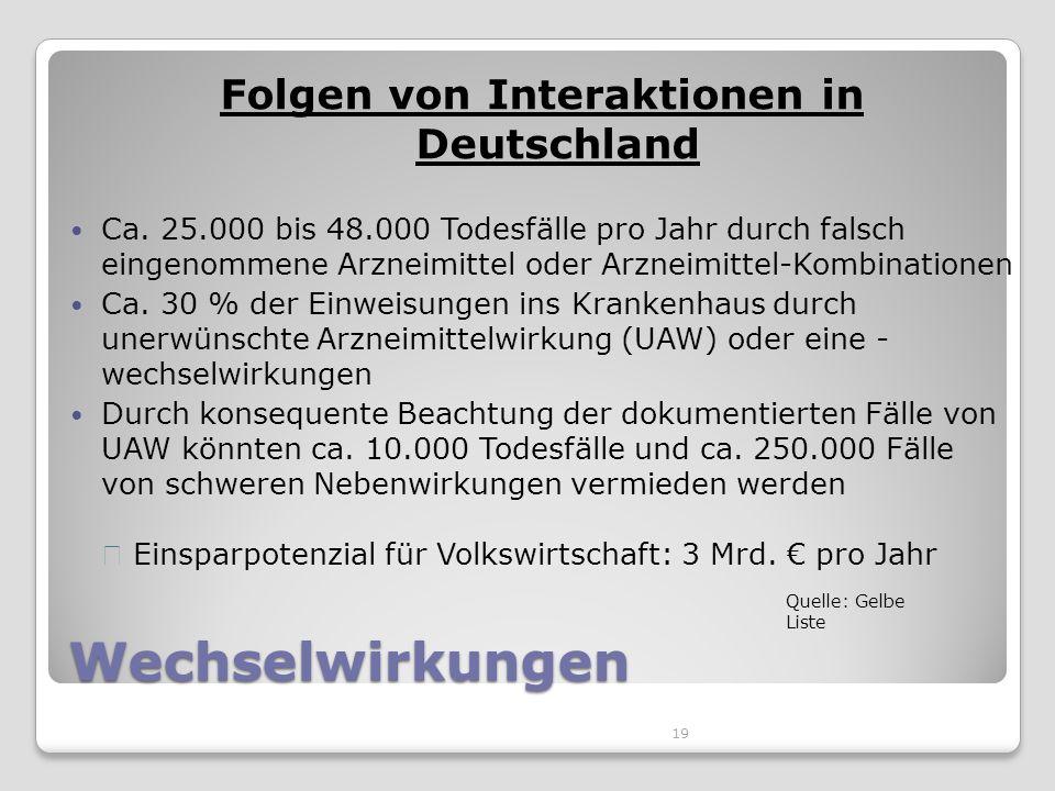 19 Wechselwirkungen Folgen von Interaktionen in Deutschland Ca.
