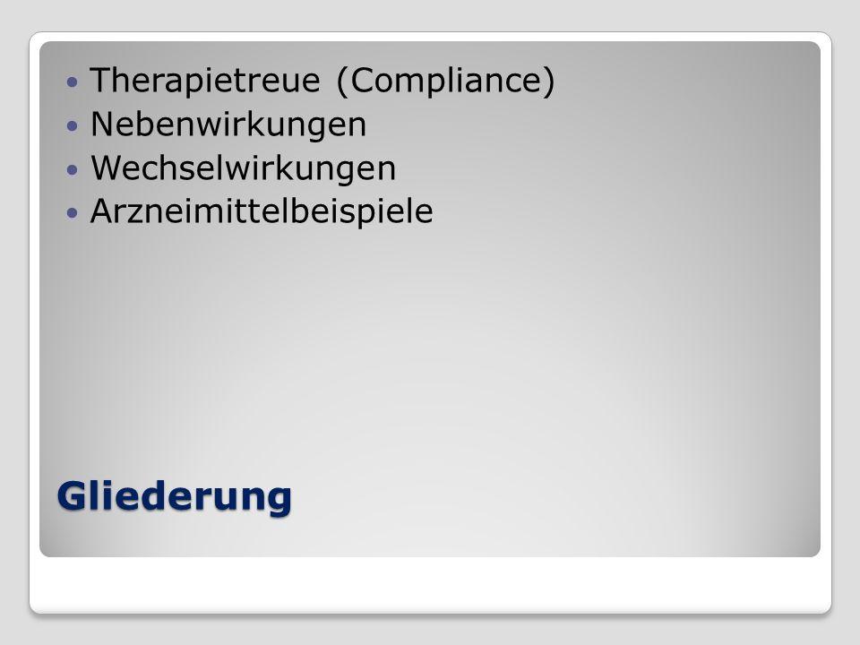 Gliederung Therapietreue (Compliance) Nebenwirkungen Wechselwirkungen Arzneimittelbeispiele