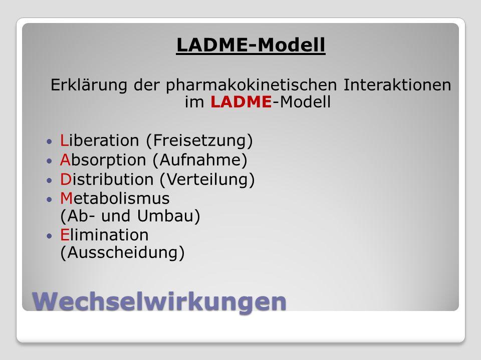 Wechselwirkungen LADME-Modell Erklärung der pharmakokinetischen Interaktionen im LADME-Modell Liberation (Freisetzung) Absorption (Aufnahme) Distribution (Verteilung) Metabolismus (Ab- und Umbau) Elimination (Ausscheidung)