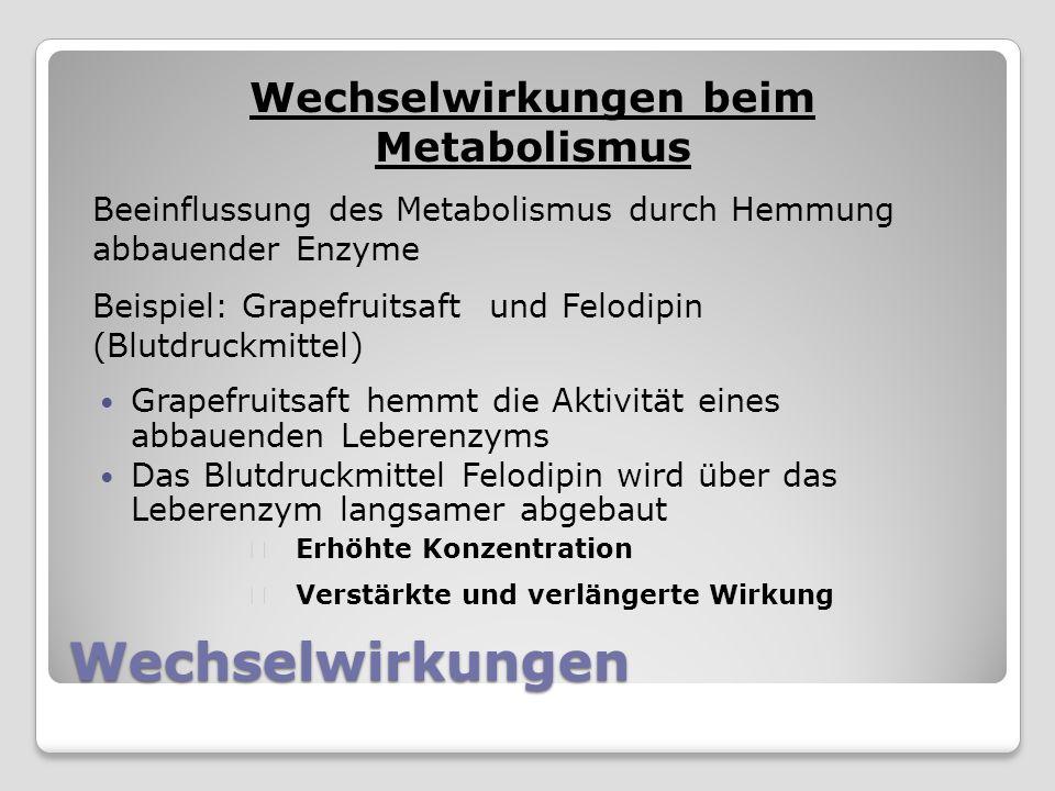 Grapefruitsaft hemmt die Aktivität eines abbauenden Leberenzyms Das Blutdruckmittel Felodipin wird über das Leberenzym langsamer abgebaut Wechselwirkungen beim Metabolismus Beeinflussung des Metabolismus durch Hemmung abbauender Enzyme Beispiel: Grapefruitsaft und Felodipin (Blutdruckmittel) Erhöhte Konzentration Verstärkte und verlängerte Wirkung Wechselwirkungen