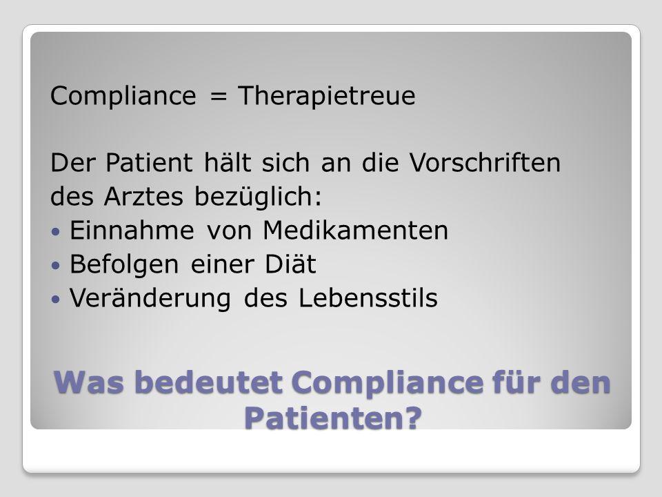 Was bedeutet Compliance für den Arzt oder Apotheker .