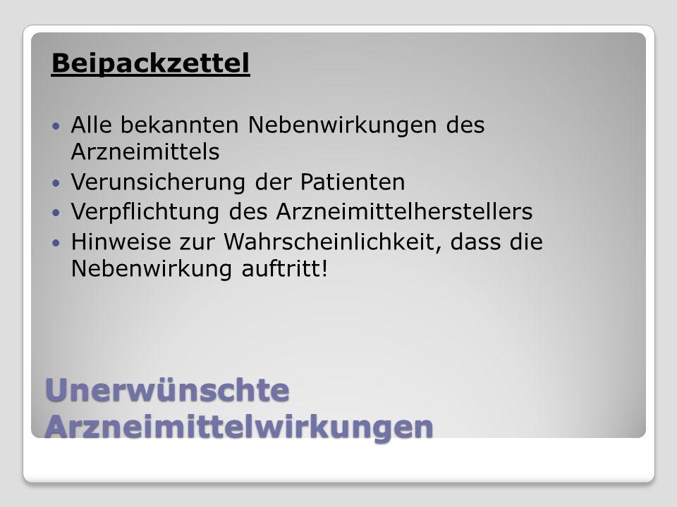 Unerwünschte Arzneimittelwirkungen Beipackzettel Alle bekannten Nebenwirkungen des Arzneimittels Verunsicherung der Patienten Verpflichtung des Arzneimittelherstellers Hinweise zur Wahrscheinlichkeit, dass die Nebenwirkung auftritt!