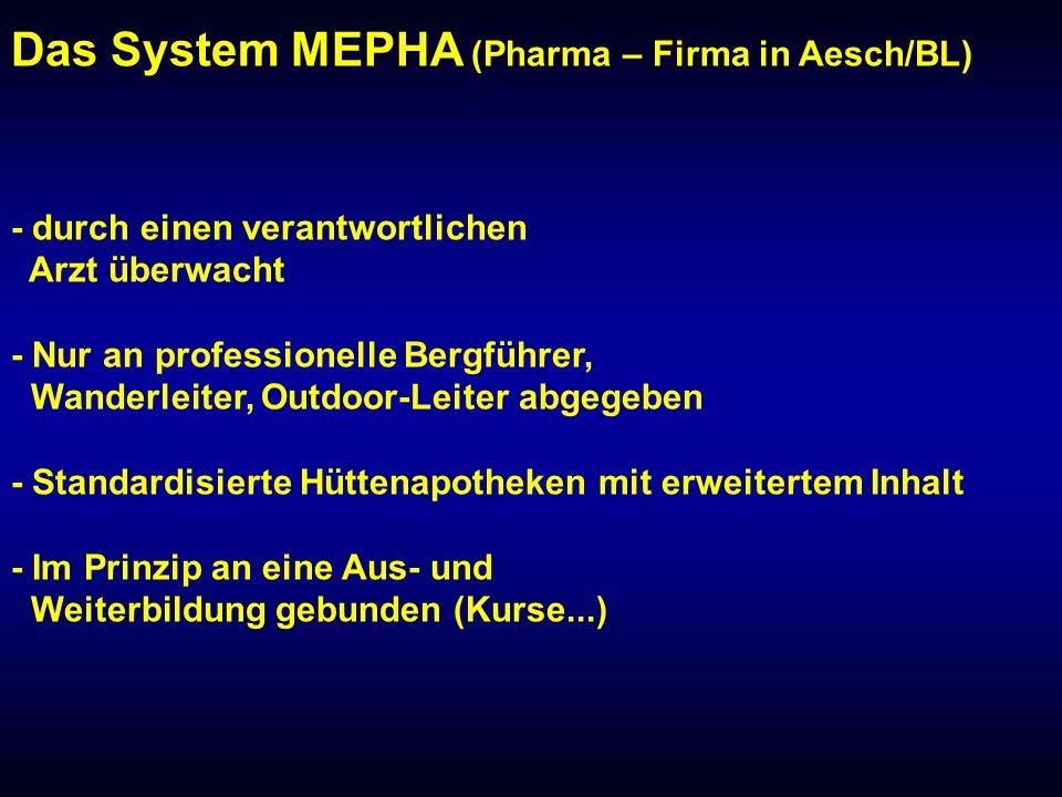 Das System MEPHA (Pharma – Firma in Aesch/BL) - durch einen verantwortlichen Arzt überwacht - Nur an professionelle Bergführer, Wanderleiter, Outdoor-Leiter abgegeben - Standardisierte Hüttenapotheken mit erweitertem Inhalt - Im Prinzip an eine Aus- und Weiterbildung gebunden (Kurse...)