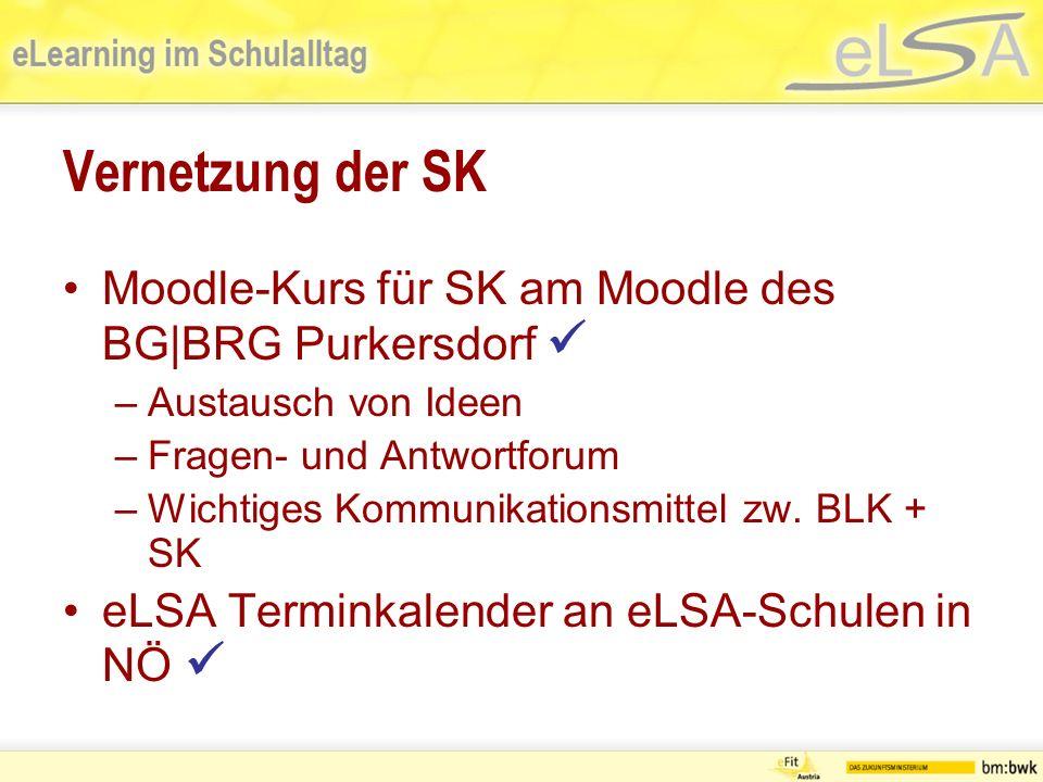 Vernetzung der SK Moodle-Kurs für SK am Moodle des BG|BRG Purkersdorf –Austausch von Ideen –Fragen- und Antwortforum –Wichtiges Kommunikationsmittel zw.