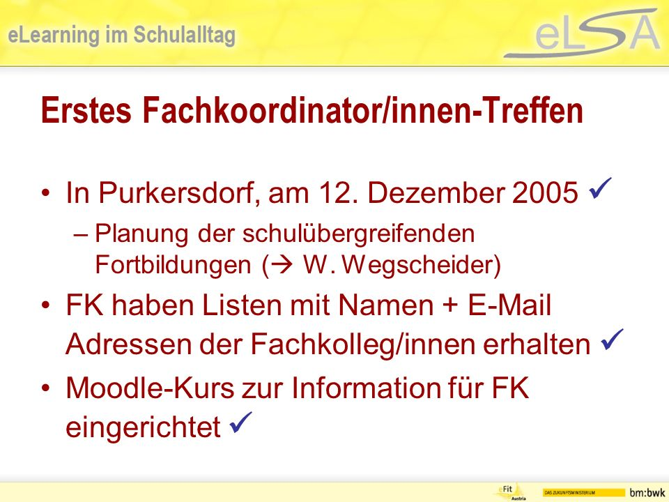 Erstes Fachkoordinator/innen-Treffen In Purkersdorf, am 12.