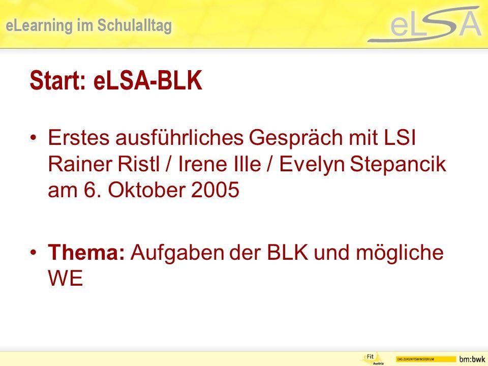 Aufgaben der BLK Vernetzung im BL aufbauen Verbindlichkeiten im BL aufbauen, auf deren Einhaltung achten Verantwortung für die Zielerreichung und Umsetzung der eLSA-Ziele Bundesweite Besprechungen