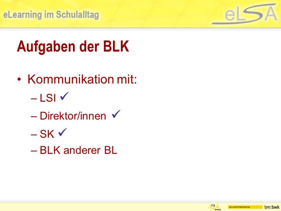 Aufgaben der BLK Kommunikation mit: –LSI –Direktor/innen –SK –BLK anderer BL