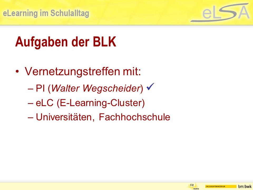 Aufgaben der BLK Vernetzungstreffen mit: –PI (Walter Wegscheider) –eLC (E-Learning-Cluster) –Universitäten, Fachhochschule