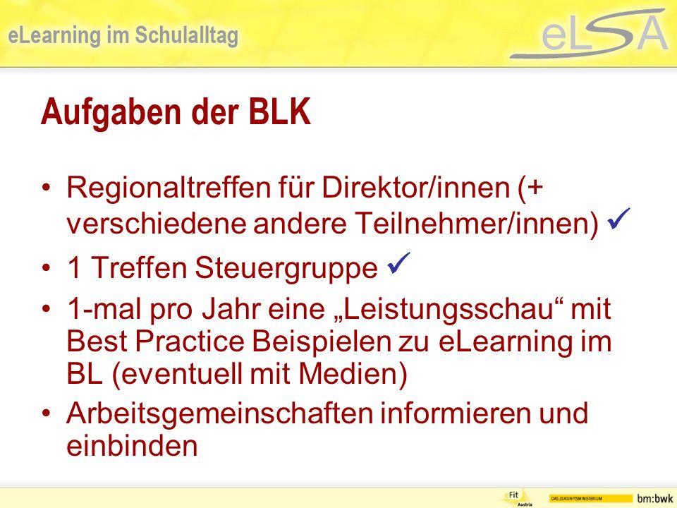 Aufgaben der BLK Neue eLSA-Schulen gewinnen Hauptschulen in eLSA integrieren (Herr Schoder) Motivationsunterstützung für SK und DIR
